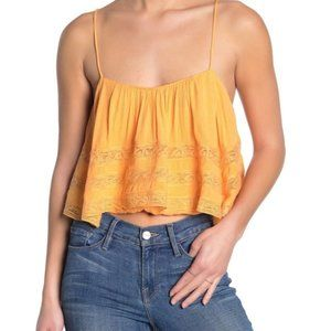 Free People Home Again Tie Back Crop Camisole Sz L